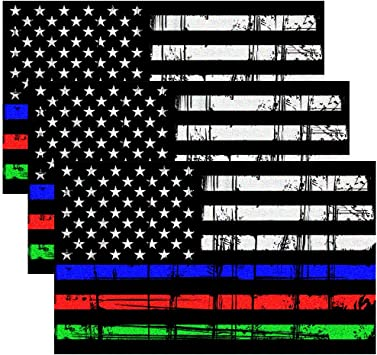 Thin Blue Line Olive Drab Blue Line Set of 2 Tattered USA Flag Decals-Reflective