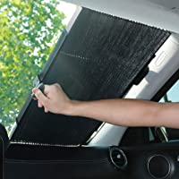 MagiqueW Car Windshield Sun Shade, Retractable Sun Shade, Easy to Install and Use - Protect Vehicle's Interior from Heat and Sunlight(65CM/25.6IN(Front))