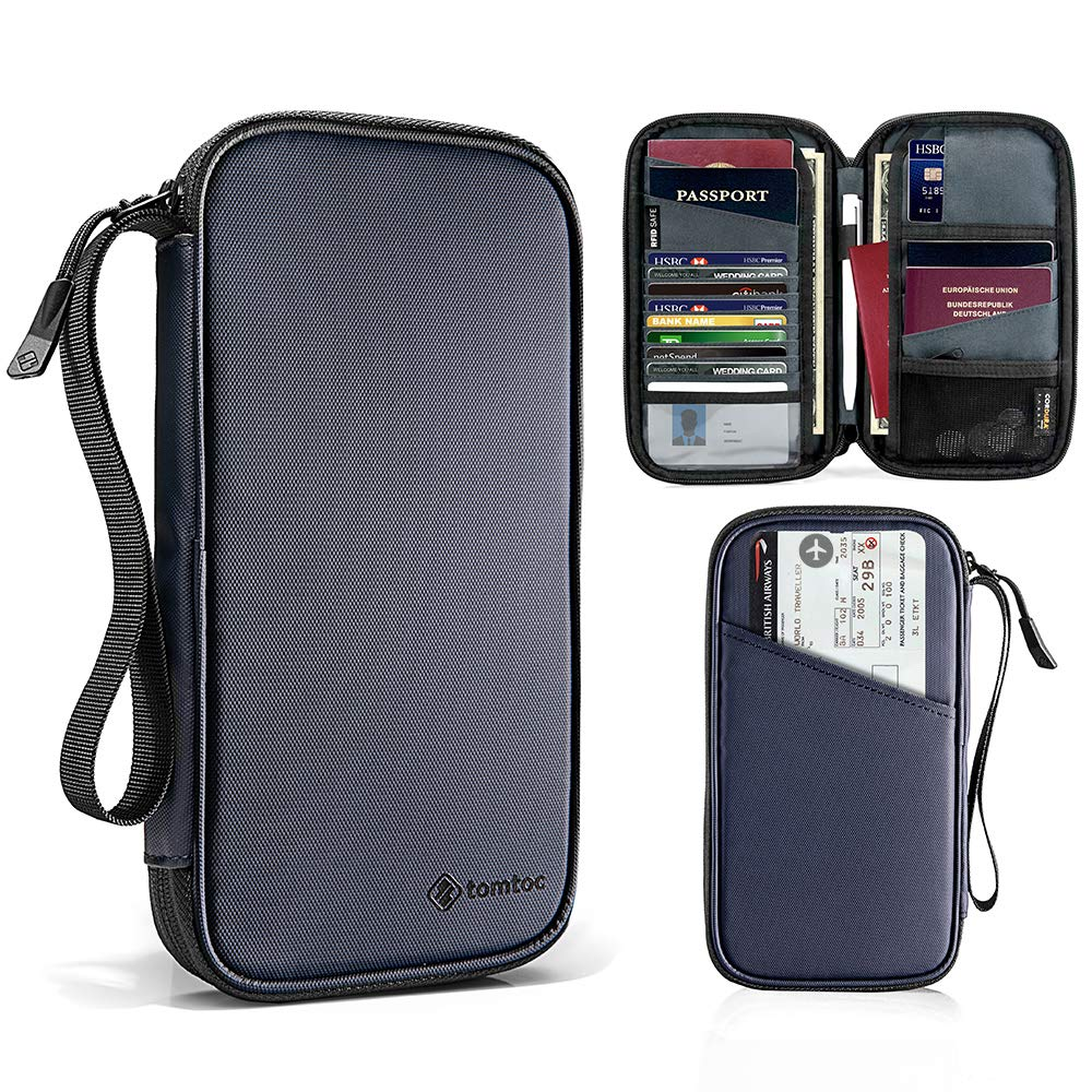 tomtoc Family Passport Holder with a Sim Card Holder and Eject Pin RFID Blocking Travel Wallet Waterproof Ticket Holder Document Organizer with Chain Strap Up to 6 Passports 9 Credit Cards