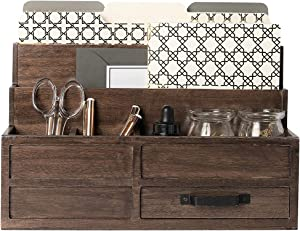 Blu Monaco Brown Wood Mail Organizer with Drawer and Pen Holder - Desk Organizer and Sorter for Bills, Storage, Countertop and Kitchen
