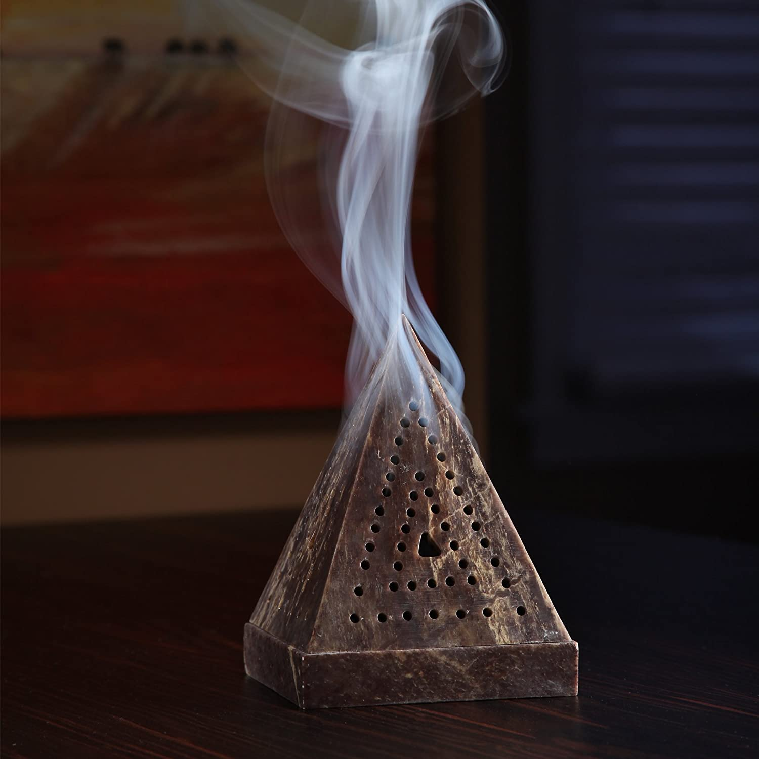 Zen Vastu Incense Cone Holder Spa Reiki Chakra Settings Hosley 5 High Large Soapstone Triangle Pyramid O3 HG Global FBA-H46542PS-1-EA Ideal Gift for Aromatherapy