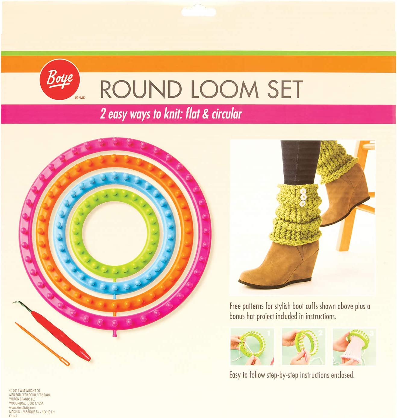 NIB All Things You Round Knitting Looms 6 Piece Kit 4 Looms 2 Accessories