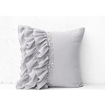 Amazon Com Silver Grey Ruffled Sequin Throw Pillows With