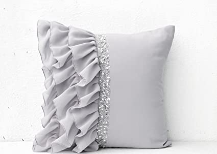 Amazon Silver Grey Ruffled Sequin Throw Pillows With Hand Amazing Ruffle Decorative Pillows
