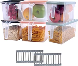 Conworld Refrigerator Organizer Bins(Set of 6 Pack),with Removable Draining Rack, Food Storage Containers to Keep Fruits, Vegetables, Meat, Fish etc