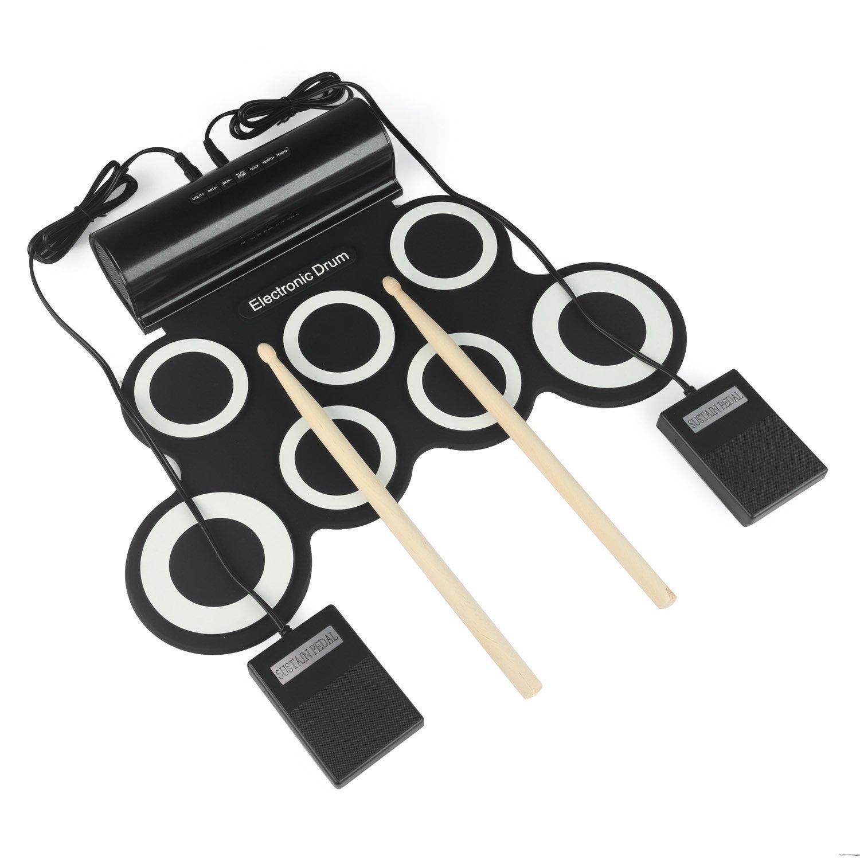 joue rnow 7pads Digital Roll Up S de Drum Pad Kit drumpad portátil con altavoz para Drum de parte negro LeaningTech G3001A