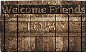 YK Decor Outdoor Welcome Mats for Front Door Entrance Non Slip Rubber Door Mat Heavy Duty Doormat Shoes Scraper Indoor Low-Profile Mats for Entry Garage Patio High Traffic Areas (Wooden Color)