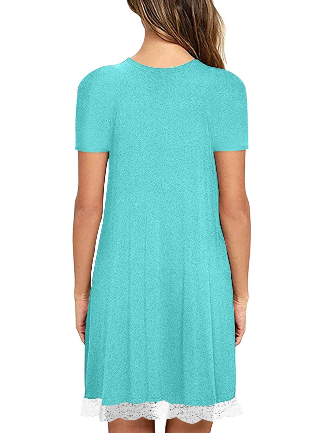 Eanklosco Womens Casual Short Sleeve Plain Pocket V Neck T Shirt Tunic Dress (NileBlue-2, 2XL)