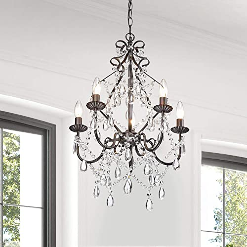 Riomasee Mini Crystal Chandelier 5 Lights Bronze Chandelier with K9 Crystal Raindrop Iron Ceiling Light Fixtures for Bedroom,Dining,Living Room
