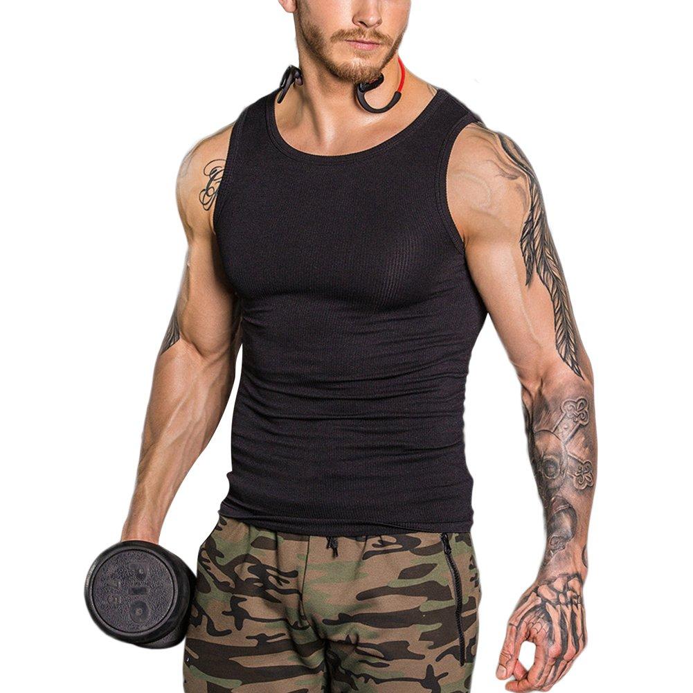 Slimming Vest Men's Elastic Sculpting Vest Thermal Compression Base Thread Slim Compression Muscle Tank Shapewear Black Size M