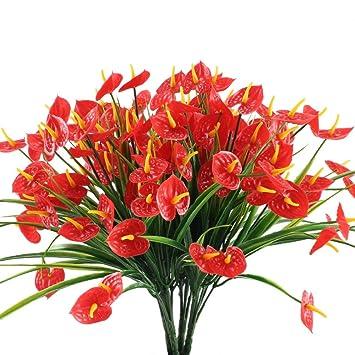 Nahuaa Kunstliche Blumen Rot 4 Stucke Calla Lily Herbst Kunstlicher