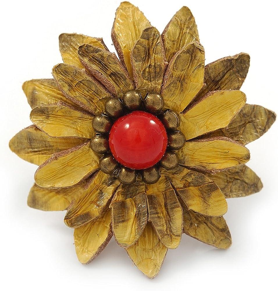 Avalaya Anillo de alambre de cuero amarillo antiguo con capas con cuentas de cristal, ajustable, 40 mm de diámetro
