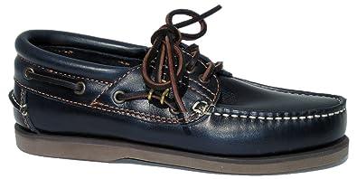 BluePort Herren Leder Bootsschuh Vermont mit Dunkler Sohle