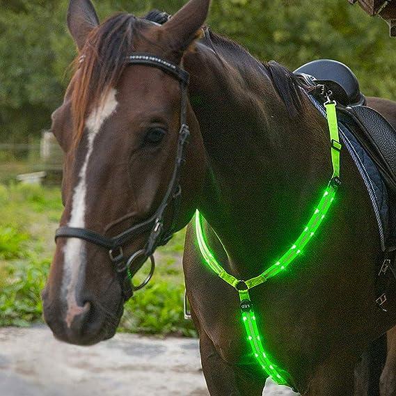 Arn/és LED arn/és LED para el Pecho Arn/és para Caballos con luz LED Foco Arn/és para Caballos Correa para el Pecho de Caballo para entornos Oscuros Al Aire Libre y Ecuestre