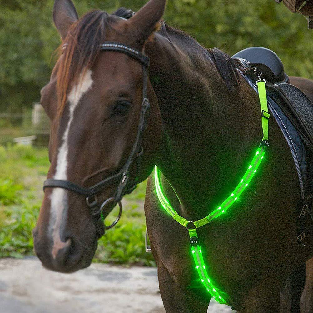 Blue 3 Flashing Mode Kappha LED Horse Harness Adjustable LED Chest Harness for Dark Environment Outdoor And Equestrian