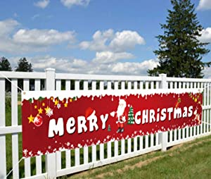 QOR Balance Large Merry Christmas Banner,Red Xmas Welcome Porch Sign Banner Decorations,Christmas Holidays Yard Wall Party Outdoor Indoor Village Hanging Décor Supplies 98 x 18 inch