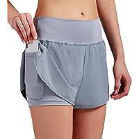 VIGVAN Pantalones cortos de deporte 2 en 1 para mujer, de verano, de secado rápido, para fitness, yoga, gimnasio…