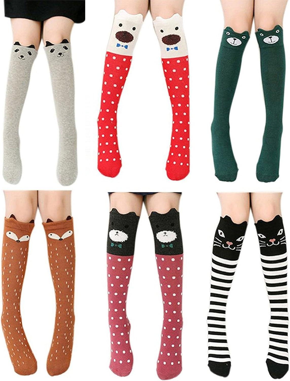 Cartoon Animal Panda Cat Bear Fox 4//6 Pairs Cotton Over Calf Knee High Socks Girls Socks