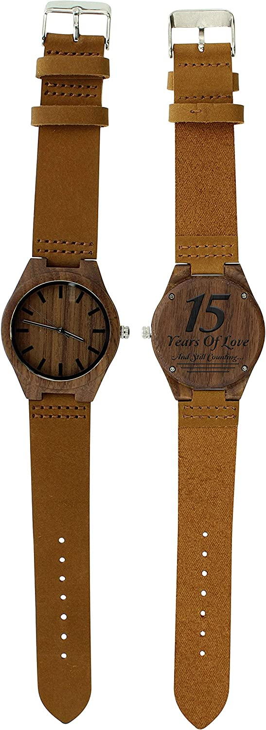 15th Anniversary Gifts 15 Years of Love Still Counting Husband Gifts Engraved Wooden Watch Gift Set