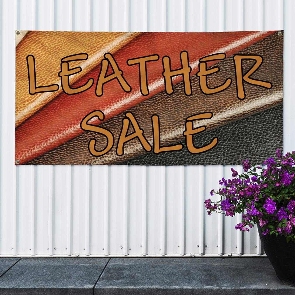 One Banner Multiple Sizes Available 48inx96in Vinyl Banner Sign Lether Sale Business Leather Sale Marketing Advertising Brown 8 Grommets