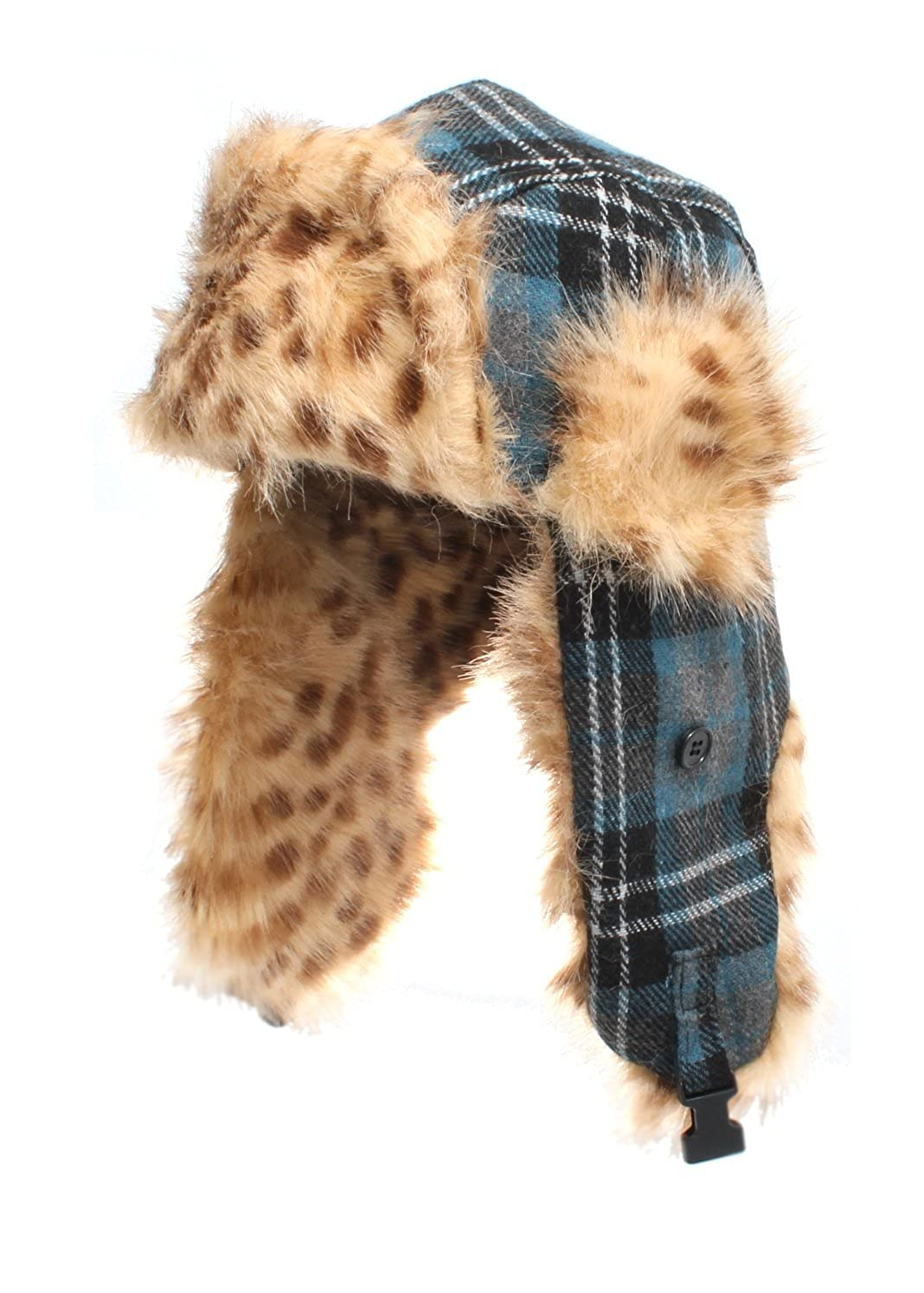 Blue Checked Trapper Hat with Animal Spotted Faux Fur Lining available in sizes 58cm or 59cm