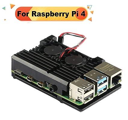 Jun_Electronic Caja de Aluminio para Raspberry Pi 4 Modelo B Carcasa Ventilador Doble con Disipador Térmico (Pi 4)