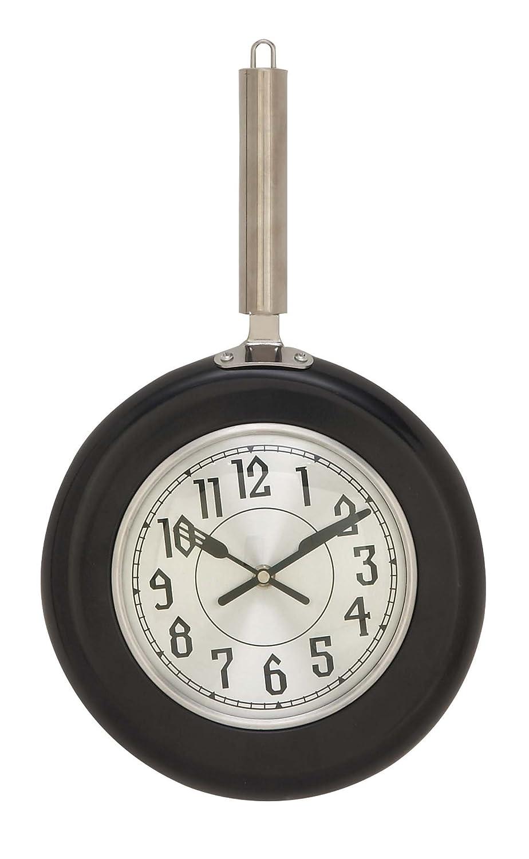 Deco 79 98441 Round Iron Wall Clock 17 x 10 Black//Silver