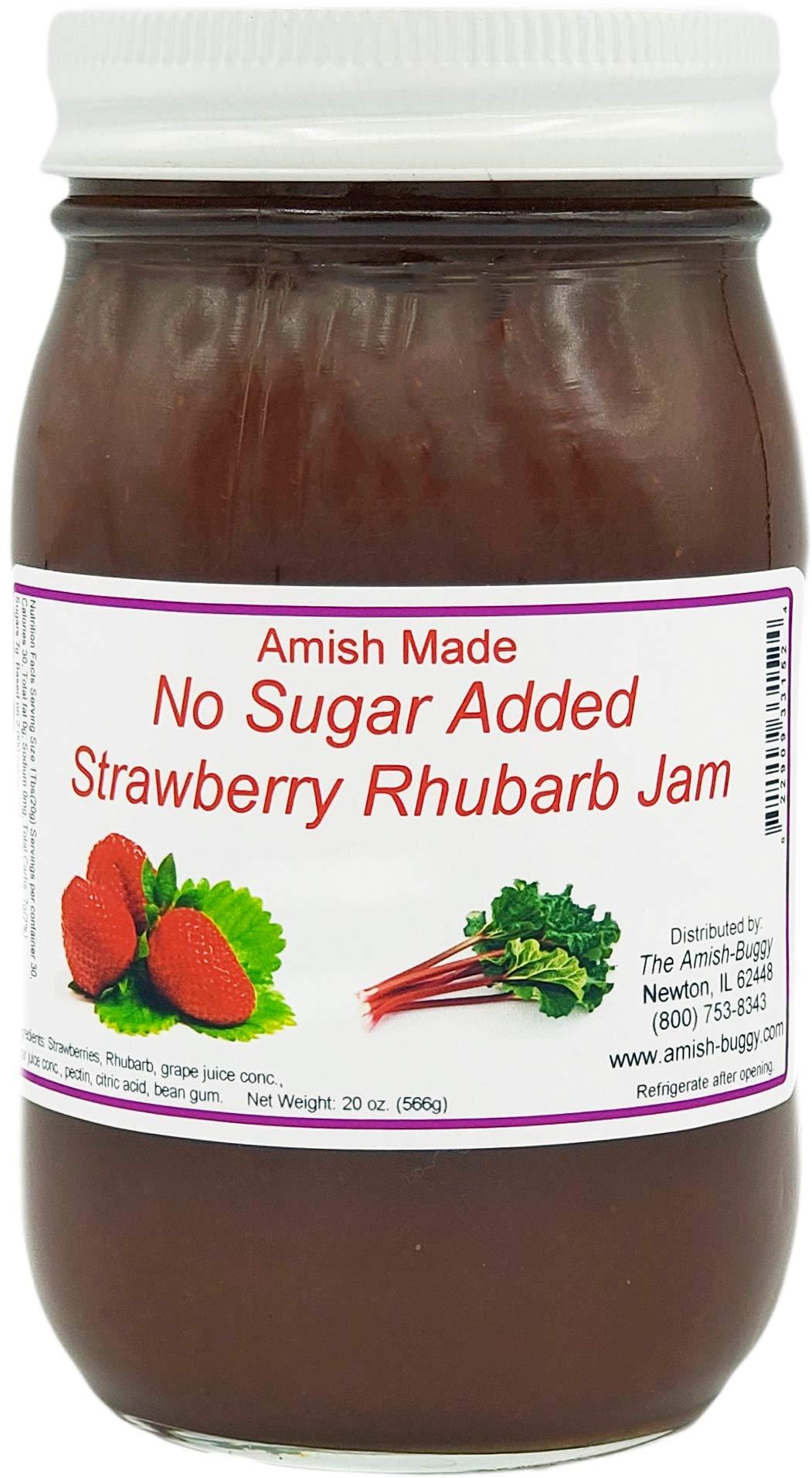 Amish Strawberry/Rhubarb Jam - No Sugar Added - Two 16 Oz Jars