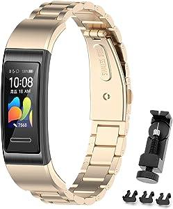 MIJOBS Correa de Metal Compatible con Huawei Band 4 Pro/Band 3 Pro/Band 3 Pulseras de Repuesto de Acero Inoxidable Correas Accesorios de Pulsera para Huawei Band 4pro / 3pro / 3 Correa