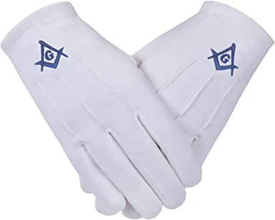 Freemasons Masonic Cotton Gloves with Embroidered Light Blue Square /& Compass with G SC/&G.Size Large