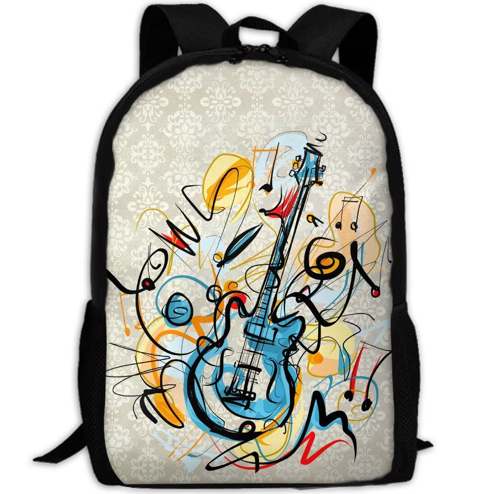 Guitar Double Shoulder Backpacks For Adults Traveling Bags Full Print Fashion by THIS STORE