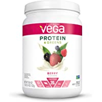 Vega Protein and Greens, Berry, Plant Based Protein Powder Plus Veggies - Vegan Protein Powder, Keto-Friendly, Vegetarian, Gluten Free, Soy Free, Dairy Free, Lactose Free (18 Servings, 1lb 2.4oz)