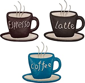 CYSCOMMA Coffee Metal Wall Art 4.7 H x 4.4 W Inches – Latte, Coffee, Espresso Written Wall Décor –Brown, Black, and Blue Wall Décor - Coffee Shop, Lounge, Dining, Kitchen Decorations