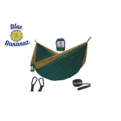 Blue Bananaz Hammock-Camping Hammock for Outdoors, Backpacking & Camping Gear- Double Hammock with Tree Straps, 2 People Hammock, Portable Hammock, Tree & Hiking Gear- Holds up to 600lb (Green/Camel): Sports & Outdoors