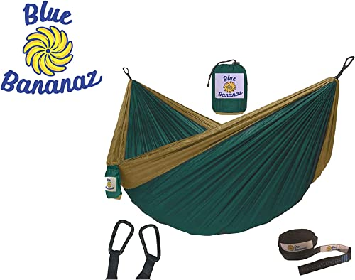 Blue Bananaz Double Hammock-Camping Hammock for Outdoors, Backpacking Camping Gear- Double Hammock with Tree Straps, Portable Hammock, Tree Hiking Gear- Holds up to 600lbs