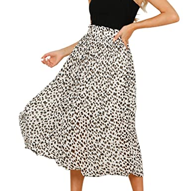 6764716946b Women s Maxi Skirts Fashion Elastic Leopard Print Vintage Mid-Calf Casual  Skirt (S