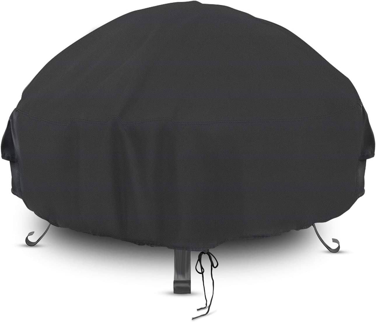 Iptienda Round Outdoor Fire Pit Cover, Waterproof Anti-UV Round Patio Fire Bowl Cover, Outdoors Furniture Grill BBQ Firepit Cover (36 inch Black)