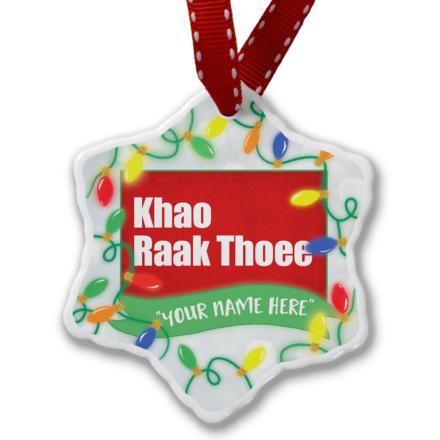 Personalized Name Christmas Ornament, I Love You ThaI Red Rose from Tailand NEONBLOND