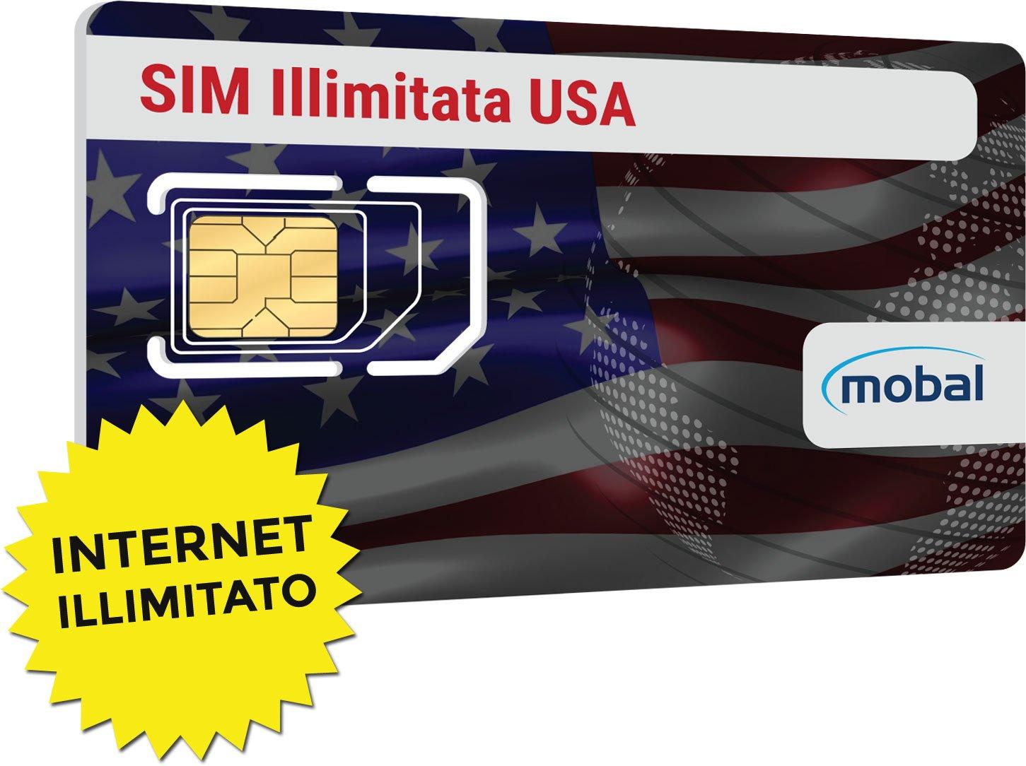 USA illimitato carta SIM da Mobal. Illimitato Data & SMS. Un ...
