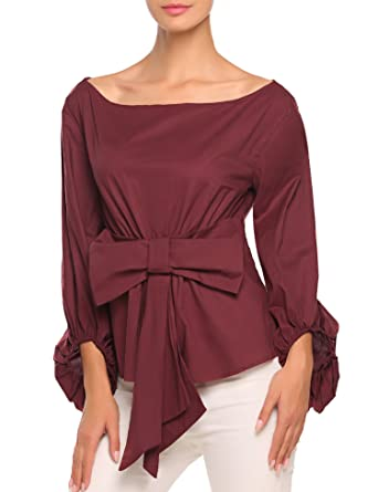 032f43b0f1 Zeagoo Womens Puff Sleeve Blouse Boat Neck Tie Waist Ruched Casual Shirt  Wine Red XL