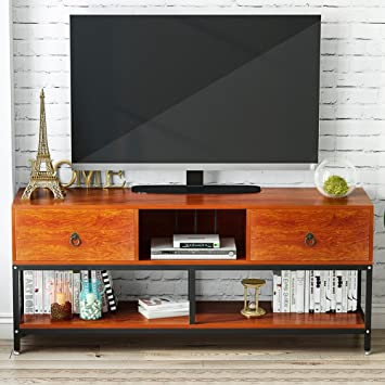 Television Tables Living Room Furniture. TV Stand with Bookshelf  LITTLE TREE 60 quot Large Entertainment Center 2 Drawers Amazon com