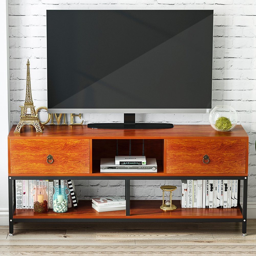 LITTLE TREE TV Stand, 60'' Large Entertainment Center with Drawers and Open Storage Shelves, 3-Tier Wide Media Console Metal Television Table/TV Cabinet for Living Room and Apartment, Cherry