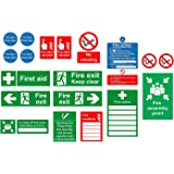 Safety sign starter pack - 19 Qty Various self adhesive labels