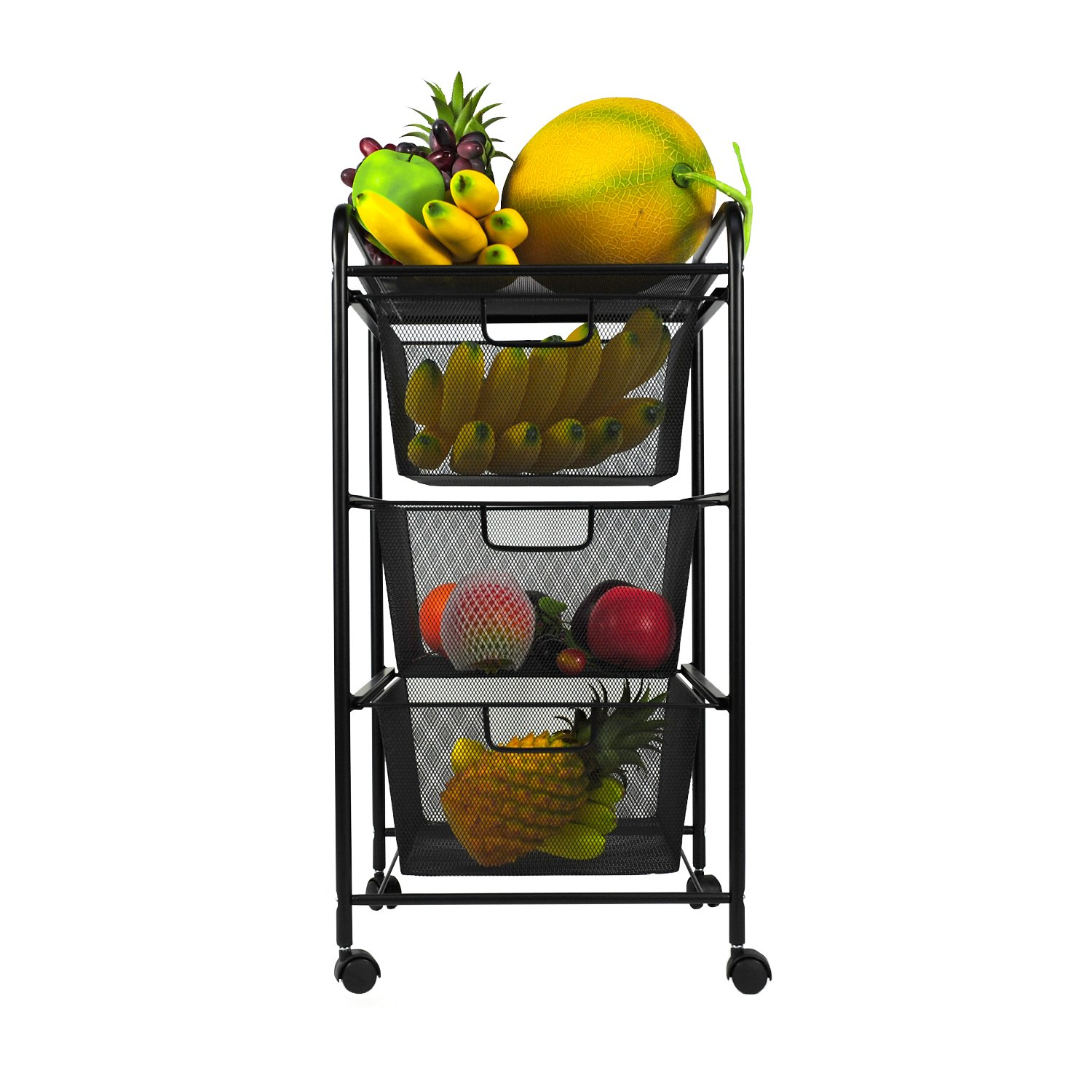 YIMU 3 Tier Metal Mesh Rolling Cart with 3 Drawers, Office& Kitchen Storage with Rolling Wheels, Black, L14 W13 H27 Inches by YIMU