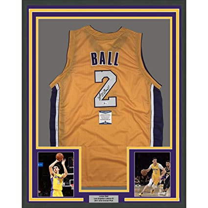 4ae3fc28a1ae Image Unavailable. Image not available for. Color  Framed Autographed Signed  Lonzo Ball 33x42 Los Angeles Yellow Basketball Jersey Beckett BAS COA