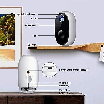 MECO 1080P cámara inalámbrica a batería, sistema de seguridad para el hogar, visión nocturna, cámara WiFi para interior/exterior con detección de movimiento, 2 vías de conversación de audio, IP65 impermeable, 2.4 GHz
