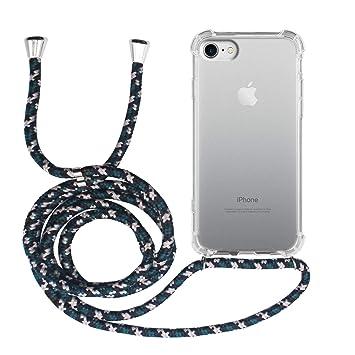 MyGadget Funda Transparente con Cordón para Apple iPhone 7/8 - Carcasa Cuerda y Esquinas Reforzadas en Silicona TPU - Case y Correa - Negro Camuflaje