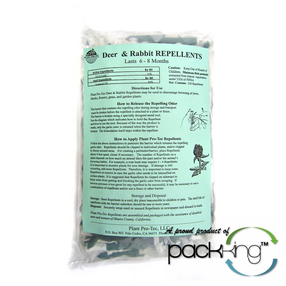 Plant Pro-Tec (250 Pack) Deer & Rabbit Garlic Natural Repellent - Organic Biodegradable (Made In USA)