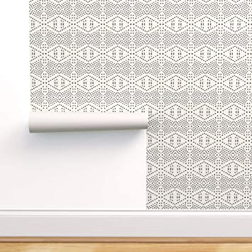 Spoonflower Peel And Stick Removable Wallpaper Boho Bohemian Diamond Geo Geometric Dot Print Self Adhesive Wallpaper 12in X 24in Test Swatch Amazon Com