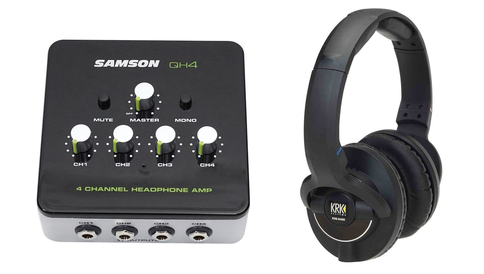 KRK KNS-8400 Professional Dynamic Studio Monitor Headphones+Samson Amplifier